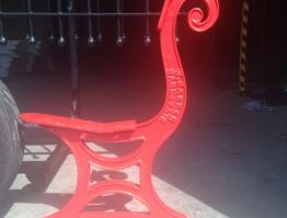 Cast Iron bench end – Bright red